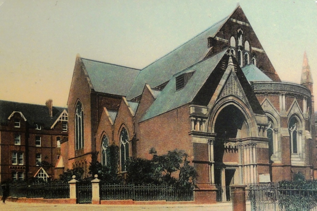 A tinted postcard view of St Mary's Church photographed in about 1905.