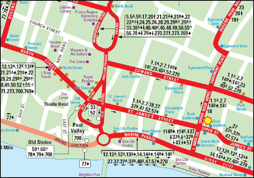 Brighton Bus Map Buses   St Mary's Church, Kemp Town, Brighton
